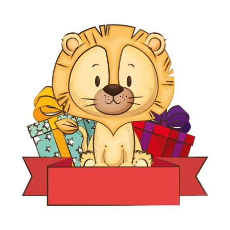 Lindo y adorable león con regalos, diseño de ilustraciones vectoriales Ilustración de vector