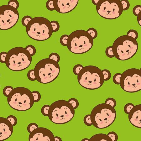 Diseño lindo y adorable del ejemplo del vector del fondo del modelo del mono