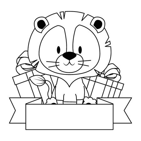 Lindo y adorable león con regalos, diseño de ilustraciones vectoriales