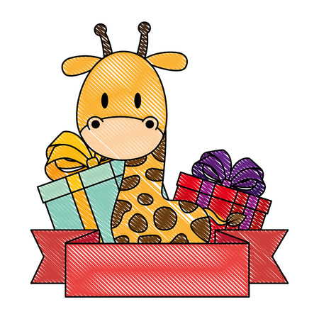 cute and adorable giraffe with gifts vector illustration design  イラスト・ベクター素材