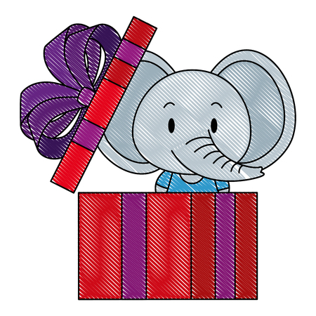 cute and adorable elephant in gift vector illustration design