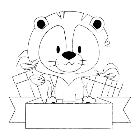 cute and adorable lion with gifts vector illustration design