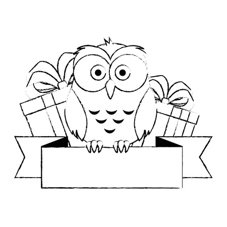 cute and adorable owl with gifts and ribbon vector illustration design