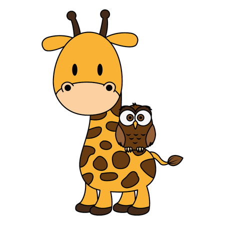 cute and adorable giraffe with owl characters vector illustration design Illustration