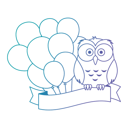 cute and adorable owl with balloons helium vector illustration design