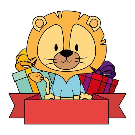 cute and adorable lion with gifts vector illustration design Ilustración de vector