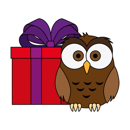 cute and adorable owl with gift vector illustration design