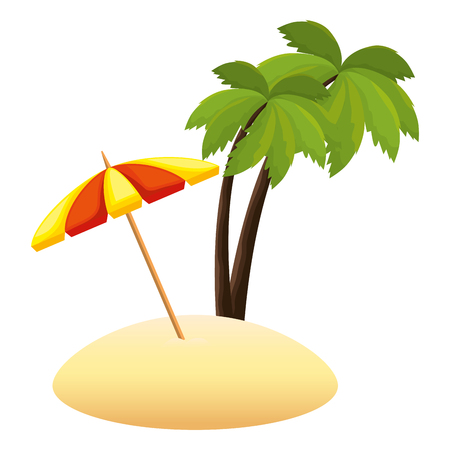 umbrella beach with palms vector illustration design Vektorové ilustrace