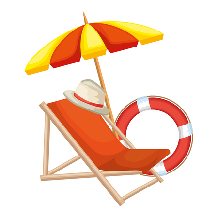 beach chair with umbrella and float vector illustration design