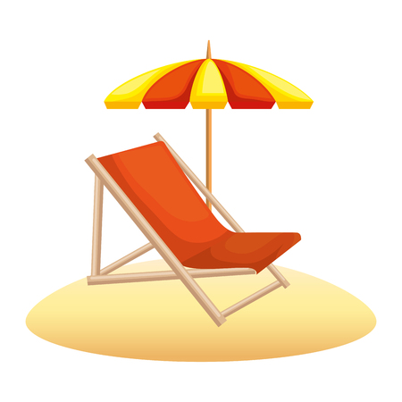 beach chair with umbrella vector illustration design 版權商用圖片 - 105702544