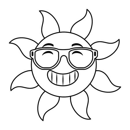 summer sun with sunglasses vector illustration design Standard-Bild - 105720469
