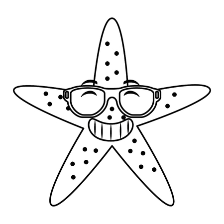 starfish animal beach with sunglasses vector illustration design