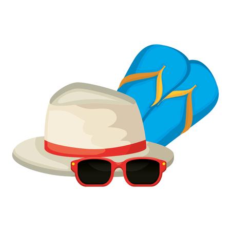 Chanclas con gafas de sol y sombrero, diseño de ilustraciones vectoriales