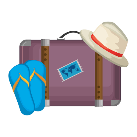 suitcase travel with summer hat and sandals vector illustration design