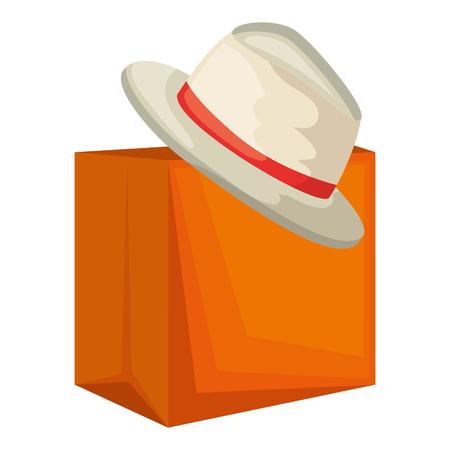 shopping bag with summer hat vector illustration design