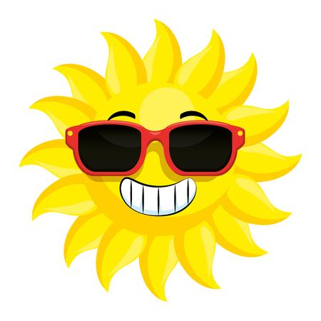 summer sun with sunglasses vector illustration design Standard-Bild - 112332462