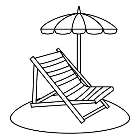 Strandkorb mit Regenschirm Vektor-Illustration Design