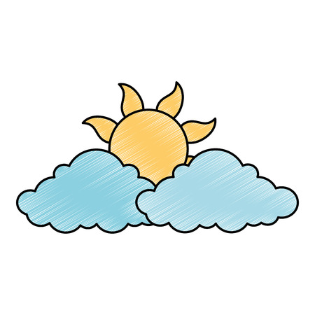 summer sun with clouds vector illustration design Standard-Bild - 105702652