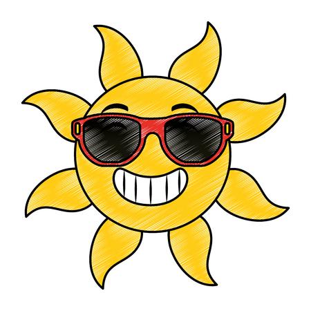 summer sun with sunglasses vector illustration design Standard-Bild - 112332483