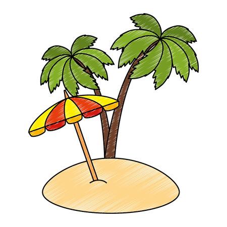 umbrella beach with palms vector illustration design