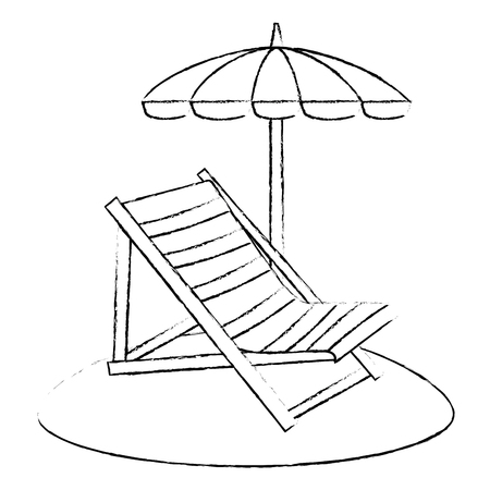 Strandkorb mit Regenschirm Vektor-Illustration Design Vektorgrafik