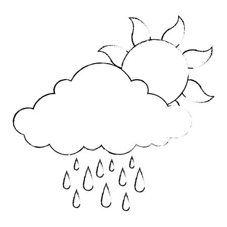 summer sun with rain vector illustration design Standard-Bild - 112332490