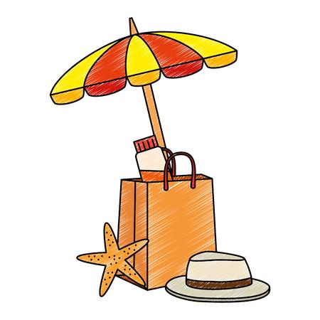 shopping bag with umbrella beach and starfish vector illustration design Çizim