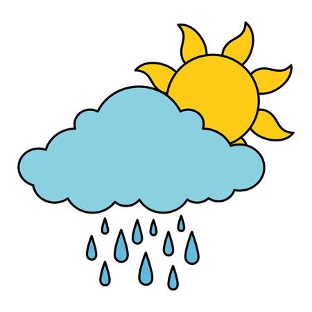summer sun with rain vector illustration design