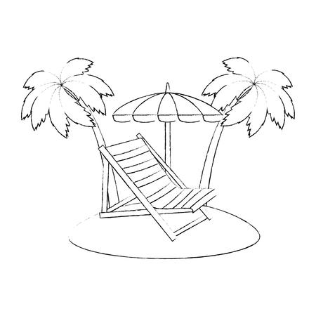 beach chair with umbrella and palms vector illustration design Vektorgrafik