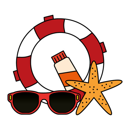 float lifeguard with sunglasses and starfish vector illustration design