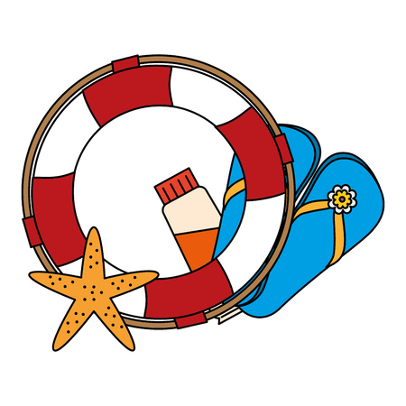float lifeguard with starfish and sandals vector illustration design