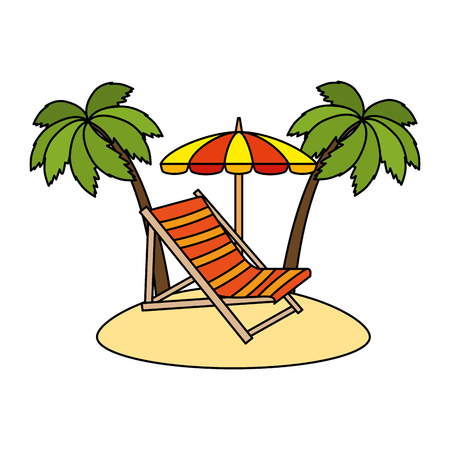 beach chair with umbrella and palms vector illustration design