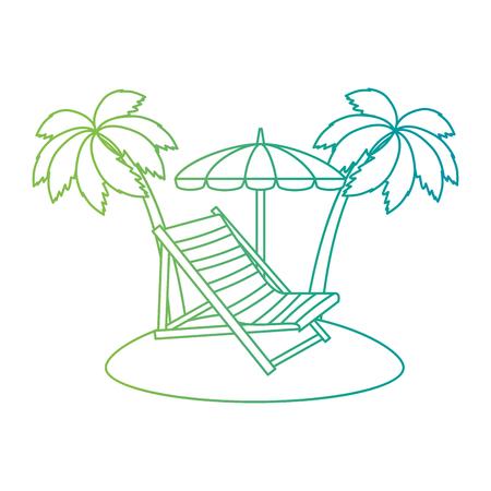 Strandkorb mit Regenschirm und Palmen-Vektor-Illustration-Design Vektorgrafik
