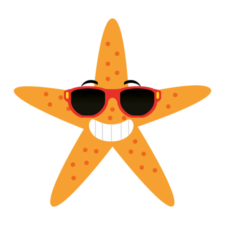 starfish animal beach with sunglasses vector illustration design