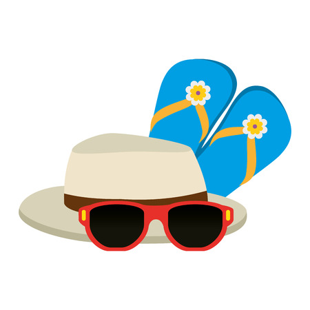 flip flops with sunglasses and hat vector illustration design