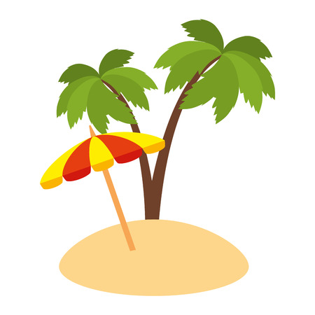 umbrella beach with palms vector illustration design