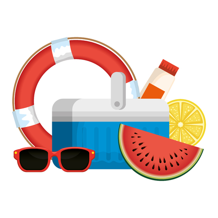 cooler with float and sunglasses vector illustration design 向量圖像
