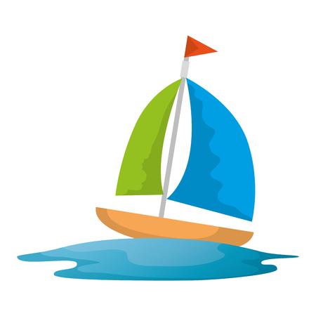 Barca a vela viaggio icona isolato illustrazione vettoriale design Vettoriali