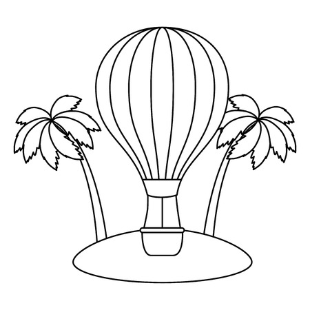 balloon air hot on the beach vector illustration design