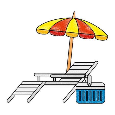 beach chair with umbrella vector illustration design