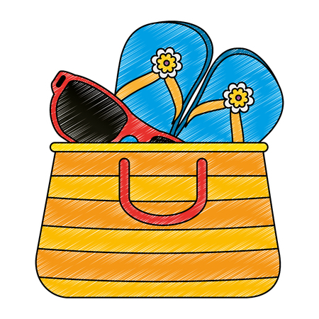 summer vacations bag with sandals and sunglasses vector illustration design