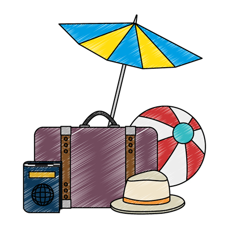 umbrella beach with vacations accessories vector illustration design