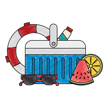 cooler with float and sunglasses vector illustration design 일러스트