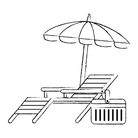 beach chair with umbrella vector illustration design 版權商用圖片 - 105720562