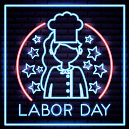 labor day girl chef professional sign neon vector illustration