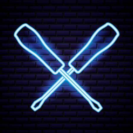 labor day screwdrivers neon background vector illustration