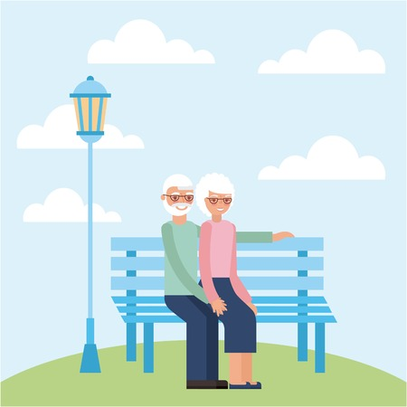 grandparents day older couple sitting park vector illustration