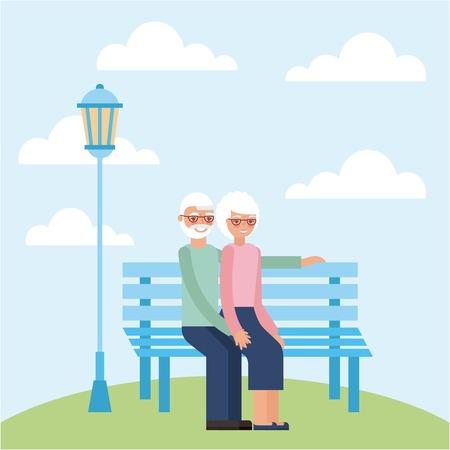 grandparents day older couple sitting park vector illustration