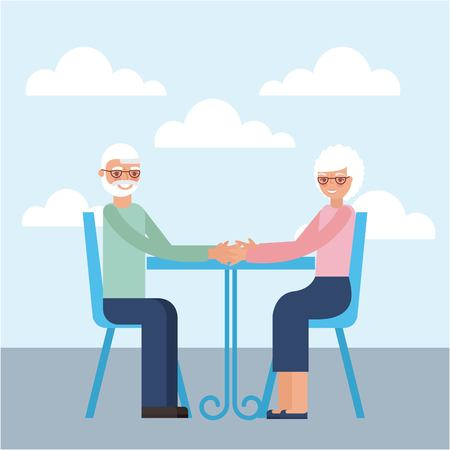 grandparents day older couple sitting smiling holding hands vector illustration