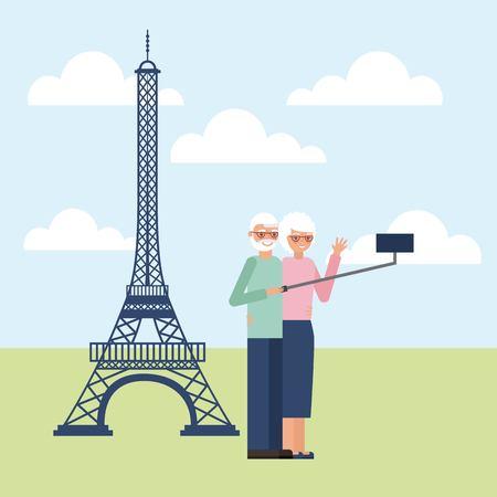 grandparents day older couple in paris taking photos vector illustration Standard-Bild - 112301622